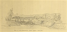 View of Fort Hindman from upper rifle pits as drawn by Clarence Fendall, U.S.Coast Survey.