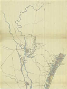 Copy of a map of Cape Fear River and adjoining Coast of North Carolina made frommaterial furnished by the U.S. Coast Survey (April 7th, 1863) and additionalinformation by Lt. Col. Shearman.  Blowup of northern portion.