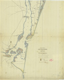 Copy of a map of Cape Fear River and adjoining Coast of North Carolina made frommaterial furnished by the U.S. Coast Survey (April 7th, 1863) and additionalinformation by Lt. Col. Shearman.