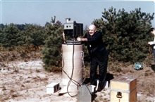 Early geodimeter.  Possibly on the Cape Canaveral project proving the efficacy of high-precision trilateration.