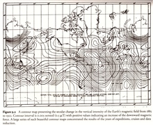 A contour map presenting the secular change in the vertical intensity of theEarth's magnetic field from 1885 to 1922.