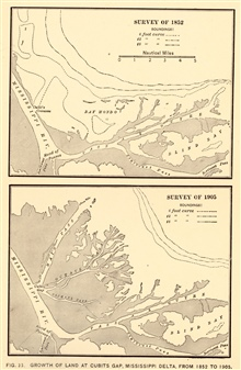 Growth of land at Cubits Gap, Mississippi River Delta, between 1852 and 1905.In: Nautical Charts by George Rockwell Putnam, 1908. 162 pp.