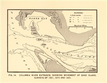 Columbia River Entrance showing movement of Sand Island, surveys of 1851, 1870,and 1905.  In: Nautical Charts by George Rockwell Putnam, 1908. 162 pp.