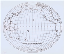 Map showing the magnetic observatories of the world.