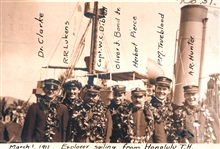 Officers of the Coast and Geodetic Survey Steamer EXPLORER leaving Honoluluon March 1, 1911.  From l to r :  Dr. Clarke, R. R. Lukens, Captain W. C. Dibrell, Oliver J. Bond, Jr., Herbert Pierce, P. M. Trueblood, and A. R. Hunter.