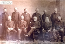 Convention of Coast and Geodetic Survey topographers.  From L to R:  DallasBache Wainwright, John W. Donn,  W. C. Hodgkins, J. A. Flemer, H. G. Ogden,Henry Laurens Whiting, Chairman, C. H. Dennis, Cleveland Rockwell,C. T. Iardella, Augustus F. Rodger