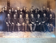 Coast and Geodetic Survey Assistants and Superintendent Mendenhall at GeodeticConference in 1894.  This photo has original signatures of all assistants in theimage.