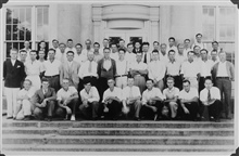 Group portrait of level party.  Marvin Paulsen's first job on the Survey as acollege student.  He is in the suit coat on the left side of the photo.