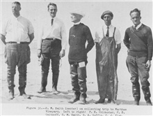 Hugh M. Smith, center on collecting trip to Marthas Vineyard.  Left to right: F. E. Chidester, P. S. Galtsoff, H.M. Smith, R. A. Goffin, C.J. Fish. P. 68.The Story of the BCF Biological Laboratory Woods Hole, Massachusetts, by P. S.