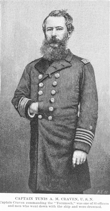 Captain Tunis A. M. Craven, U.S.N., worked on the Coast Survey for about fifteen years prior to the Civil War.  Was skipper of the TECUMSEH which was sunk by amine in Mobile Bay at the beginning of the Battle of Mobile Bay in 1864.  Hedied in this ba