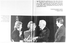 Secretary of Commerce William Verity being sworn in as Ronald Reagan looks on.