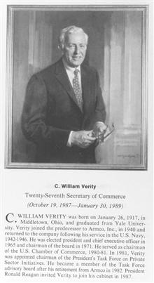 C. William Verity, 1917-, twenty-seventh Secretary of Commerce.