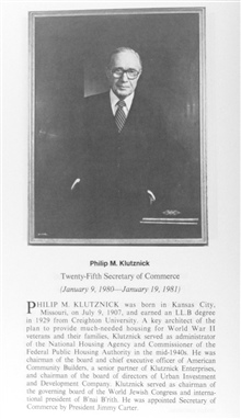 Philip M. Klutznick, 1907-  ,twenty-fifth Secretary of Commerce.