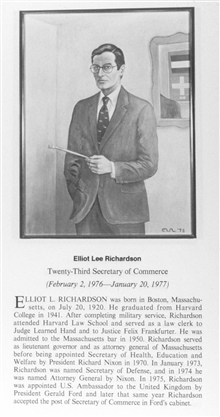 Elliott Lee Richardson, 1920 - , twenty-third Secretary of Commerce.