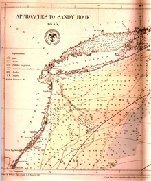Bottom characteristic map of the approaches to New York Harbor by United States Hydrographical Office as published in Matthew Fontaine Maury's Wind andCurrent Charts for 1858.  Data from United States Coast Survey.  Note there isno expression of Huds