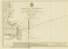 Western section of survey line run by Lt. Joseph Dayman on HMS CYCLOPSduring telegraph cable survey of 1857.  The work of Berryman and Dayman betweenin 1856 and 1857 respectively marked a new era in ocean exploration, thebeginning of systematic surve