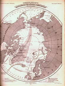 A curious map of the Arctic Ocean showing land extending north fromGreenland.  Published in 1869 in Petermann's Geographische Mittheilungen.