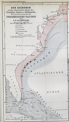 The east coast of the United States showing the continental shelf, shelf break, continental slope, and sediment types.  This was one of the first publishedmaps of this nature.  The Coast Survey had rediscovered the continental shelfbreak in 1848.  Co