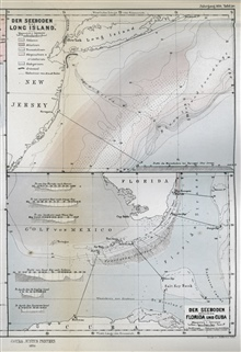 Full page presentation of the two maps shown in image map00019 and map00020.as published by Petermann's Geographische Mittheilungen in 1870 by LouisFrancois de Pourtales of the United States Coast Survey.