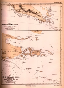 Map of the area southeast of New Guinea showing various reefs and islands ina sparsely surveyed area.  In: Petermann's Geographische Mittheilungen for 1874.