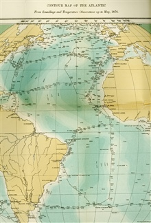 The Contour Map of the Atlantic should be known as one of the classical mapsof the Earth Sciences.  This version of the map was published by Sir WyvilleThomson of the CHALLENGER Expedition in 1877 and is the first ever to show thecontinuity of the Mi