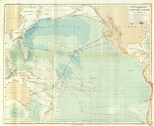 This map, by Augustus Petermann, was the first bathymetric map of thePacific Ocean.  Data was acquired by the CHALLENGER, the USS TUSCARORA, and theGerman research ship GAZELLE.  Note the much denser sounding information on theTUSCARORA as the result