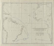 Soundings taken by the first USS ENTERPRISE exploration vessel under the command of Captain Albert S. Barker.  This was the first U.S. ship to specificallycircumnavigate the globe on a sounding and temperature measuring expedition.Note the shoal area