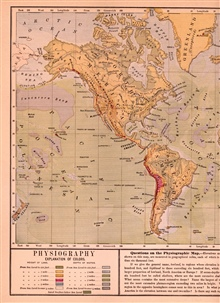 World map with ocean physiography published in 1887 inAppletons' American Standard Geographies Physical Geography , pp. 20-21.Note Alaska Deep and Alaska Rise off the coast of South America.  These werediscovered by George Belknap on the USS Alaska i