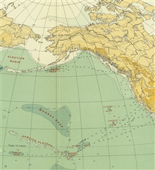 Section of North Pacific Ocean on Murray's map of the Pacific Ocean, Chart 1B,accompanying the Summary of Results of the Challenger Expedition, 1895.
