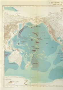 Sir John Murray's world map of 1899, Pacific Ocean.  The onlyphysiographic feature he named were deeps, defined as area of the seafloorbelieved to have depths greater than 3000 fathoms.