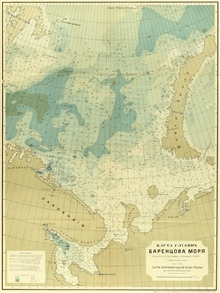 A Russian map of the Barents Sea by L. Brietfuss and A. Smirnow published in1905. Same map as the last.