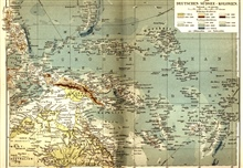 A map of Germany's western Pacific colonies as of 1910.  The Mariana Trench andTonga-Kermadec Trenches are shown clearly as are a few seamounts.  The deepest spot on this map is now in the Mariana Trench, SE of Guam, with a depth of9636 meters. The d