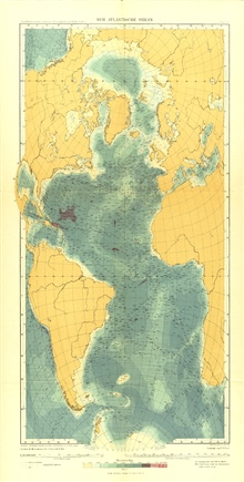 A 1912 map of the Atlantic Ocean by Max Groll. Although quite similar toGerhard Schott's map, it is totally devoid of feature names.  The number ofincluded soundings, although providing evidence for the determination of contour lines, tends to obscur