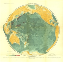 A 1912 map of the Pacific Ocean  in Tiefenkarten der Ozeane mit Erlauterungenby Max Groll.  Note the light-colored (shallower) area in the vicinity of whatis today called the East Pacific Rise, and early indication of the continuity of the oceanic ri