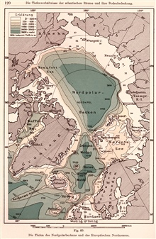 Gerhard Schott's 1912 map of the Arctic Basin and North Atlantic showingnumerous distinct basins and, although first soundings on Reykjanes Ridge wasprobably on H.M.S. BULLDOG in 1860, this is among the first maps to show it asa named feature. In: Ge