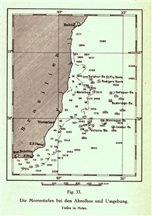 An inset map of an area off the coast of Brazil, South America, showing numerous banks and seamounts. Probably most of these features were discovered byBritish Cable Ship operations. In:Geographie des Atlantischen Ozeans by Gerhard Schott in 1912. P.