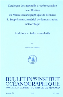 Catalog of the Oceanographic Equipment in the Collection of the OceanographicMuseum at Monaco.  8.  Supplements, Demonstration Material, Meteorology:Additions and Cumulative Index,  by Christian Carpine.  Bulletin ofthe Institute of Oceanography.  Vo