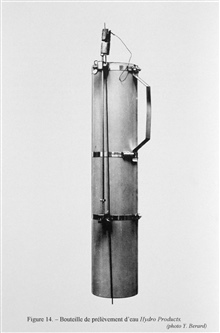 Figure 14. A Hydro Products water sampling bottle.  This type ofwater sampling bottle was first designed by Dr. William B.Van Dorn of the Scripps Institution of Oceanography in 1956.
