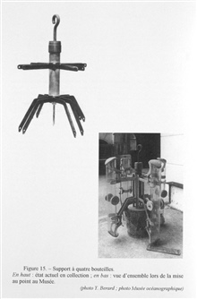 Figure 15. Support frame for four water sampling bottles.  This instrumentaccessory was found in the middle of pieces of scrap iron.  It was madein the museum workshop as shown in the accompanying photo by Jean Comelliand Jean Cros who worked on prot