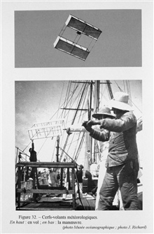 Figure 32. Meteorological kite flown from the PRINCESS ALICE II.  ProfessorHugo Hergesell of Strasbourg interested Prince Albert in exploring the highatmosphere.  As such, the first studies of the upper atmosphere while at seawere conducted off the P
