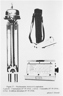 Figure 37. Assman aspirating psychrometer, used to determine relative humidityby comparing dry and humid air temperatures.  The instrument was designed onprinciples discovered by the German Ernst Ferdinand August, the director of theGymnasium of Berl