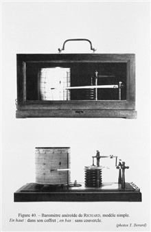 Figure 40.  Aneroid barometer register for recording the pressure readings of an aneroid barometer.  The aneroid barometer was invented by the French instrument-maker Lucien Vide in 1843.  This register was constructed by the firm ofRichard Brothers