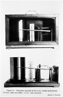 Figure 41.  Aneroid barometer with register built by the firm of RichardBrothers.  This model was meant for use on vessels.  This particular instrumentwas used by Prince Albert I of Monaco on board thePRINCESS ALICE  and PRINCESS ALICE II between 189
