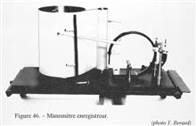 Figure 46.  Manometer register, meant to measure pressure.  This device wasconstructed by the firm of J. Richard and meant for industrial applications such as recording the pressure in boilers, of hydraulic presses, etc.  It wasapparently constructed