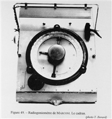Figure 49.  Dial of a Marconi radiogoniometer.  This instrument was  thereading device of a radio direction finder that would allow a ship or aircraftto home in on a radio signal and determine the direction to the transmitter.