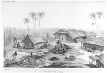 African native huts in a clearing at Boma along the Congo River.