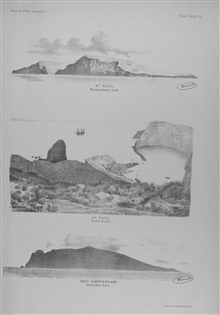 St. Paul Island, in the southern Indian Ocean at 37 50 South Lat., 77 35 EastLong.  This island and New Amsterdam were discovered by Magellan's Navigator onthe VICTORIA in 1522 during the first circumnavigation of the globe.  Top: north northwest sid