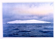 Bouvet Island, southeast side, as seen at sunrise, eight miles distant,November 26, 1898. Water color by F. Winter.  P. 191.In: Aus den Tiefen des Weltmeeres by Carl Chun, 1903. Call No. Q115.V15 1903.