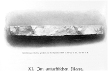 Chapter XI.  In the Antarctic Ocean.  A tabular iceberg seen on December 19,1898, at 61 22 South Latitude, 61 40 East Longitude.  P. 194.In: Aus den Tiefen des Weltmeeres by Carl Chun, 1903. Call No. Q115.V15 1903.