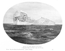Iceberg with thick layers of blue ice seen December 1, 1898, at 56 26 SouthLatitude, 11 17 East Longitude.  P. 209.In: Aus den Tiefen des Weltmeeres by Carl Chun, 1903. Call No. Q115.V15 1903.